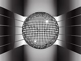 Silver disco ball on metallic 3D environment