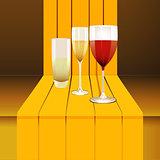 wine glasses on 3D step