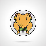 Roasted chicken flat color vector icon