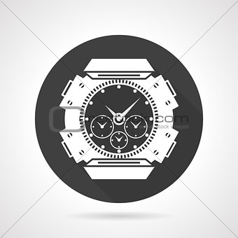 Black round icon for sport wrist watch