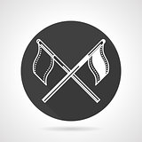 Team flags black round vector icon