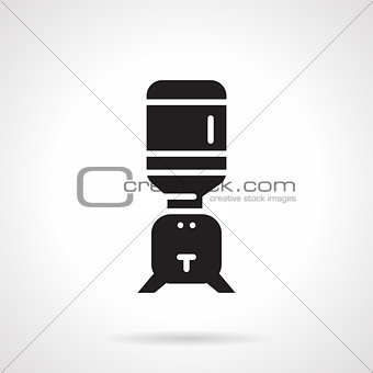 Black water cooler flat vector icon