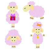 Сute cartoon sheep on a white background