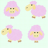 Сute cartoon sheep on a green background