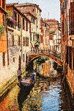 Venice watercolor style  picture. Gondola