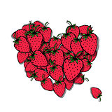 Love strawberry. Heart sketch for your design