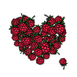 Love raspberry. Heart sketch for your design