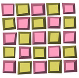 irregular tile pattern frames in green pink over white