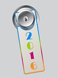 Rainbow color door hanger with 2016 text