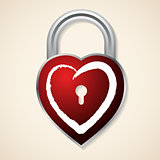 Red heart shaped padlock