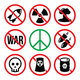 No nuclear weapon, no war, no bombs warning signs