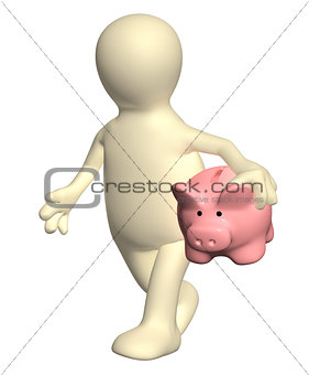 3d man walking with piggy bank
