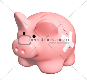 3d man with broken piggy bank
