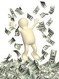 Happy 3d man and a money rain with dollar banknotes