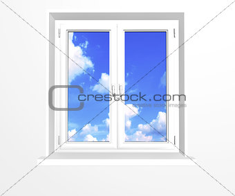 Closed window and clouds on blue sky