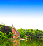 Famous Lake of Love in Bruges, Belgium