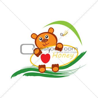 Bear and bee logo