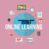 Concept for distance education, online learning.