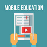 Mobile education concept. Vector illustration