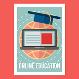 Online education poster. Illustration wit vintage colors in modern flat style