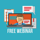 Concept for webinar, online learning, professional lectures in internet.
