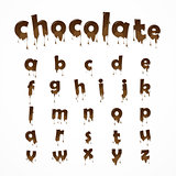 Melted chocolate alphabet