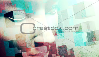 abstract human face background.