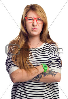 Angry strict woman wears glasses, grimace portrait