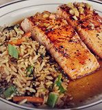 Salmon and Rice with Mushrooms