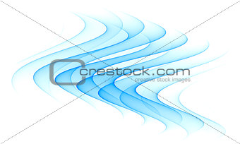 abstract blue wave element isolated on white