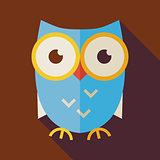Flat Knowledge and Education Owl Illustration with long Shadow