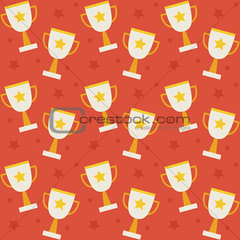 Flat Vector Seamless Pattern Sport Competition Trophy Winning