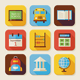 Flat Back to School Squared App Icons Set
