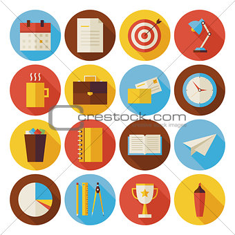 Flat Business and Office Circle Icons Set with long Shadow