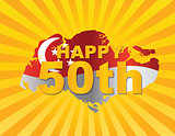 Singapore 50th Flag in Map Silhouette Illustration