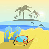Vector illustration, summer beach, slippers and snorkeling.