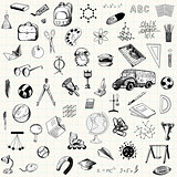 Set of doodle education icons