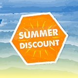 summer discount in orange label over sea background
