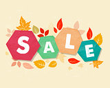 autumn sale with leaves, grunge drawn hexagons labels