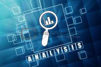 analysis and magnifier symbol in blue glass cubes