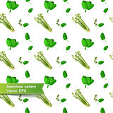 Seamless pattern with slices of vegetables. Celery and spinach.