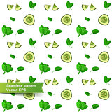 Seamless pattern with slices of vegetables. Cucumber and spinach.