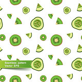 Seamless pattern with slices of vegetables. Cucumber and kiwi.