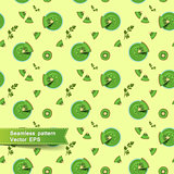 Seamless pattern with smoothies and fruit pieces. Kiwi fruit.