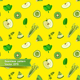 Seamless pattern with slices of fruit and vegetables.