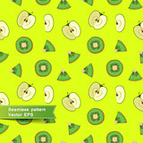 Seamless pattern with slices of fruit and vegetables. Cut apple