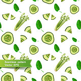 Seamless pattern with slices of vegetables. Cut the cucumber.