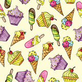Seamless pattern whith ice cream