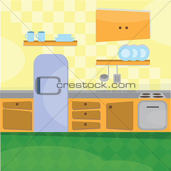 Kitchen interior and cooking utensils
