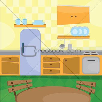 Kitchen interior and cooking utensils